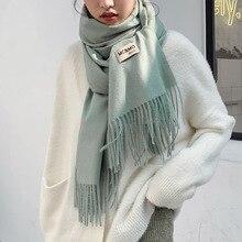 Зима толстый шаль зима кашемир шарф для женщин чистый цвет подарок кисточкой теплый дамы шарфы сверхразмерные высокое качество