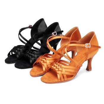 USHINE BD-GD Heel professional high quality top grade diamond buckle dance shoes ballroom latin dance shoes woman