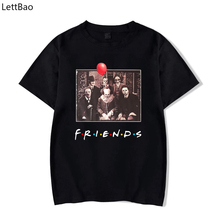 LettBao ужасные друзья новинка Pennywise майкл майерс джейсон вурхи хэллоуин черная мужская футболка хлопковая подходящая футболка