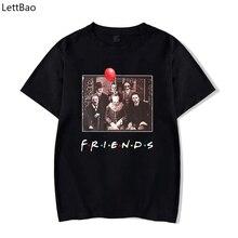 LettBao korku arkadaşlar yeni Pennywise Michael Myers Jason Voorhees cadılar bayramı siyah erkekler T Shirt pamuk eşleştirme T shirt