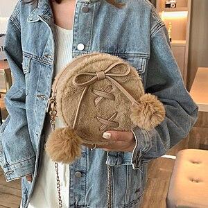 Image 3 - Round Faux Fur Cute Pu Leather Fashion Women Shoulder Bag Crossbody Bag Purses and Handbags Femael Casual Hand Bag