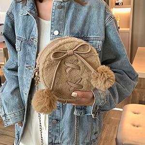 Image 3 - ラウンドフェイクファーのかわいいpuレザーファッションの女性のショルダーバッグクロスボディバッグ財布とハンドバッグfemaelカジュアルハンドバッグ