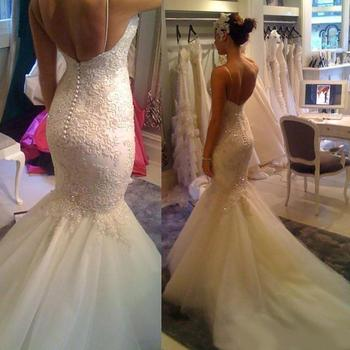 New Sexy Spaghetti Straps Lace Mermaid Wedding Dresses Applique Sequins Open Back Court Train Wedding Gowns Bridal Gowns Custom long white mermaid v neck open back lace court train sexy vintage formal wedding dresses fashion wedding gowns custom made
