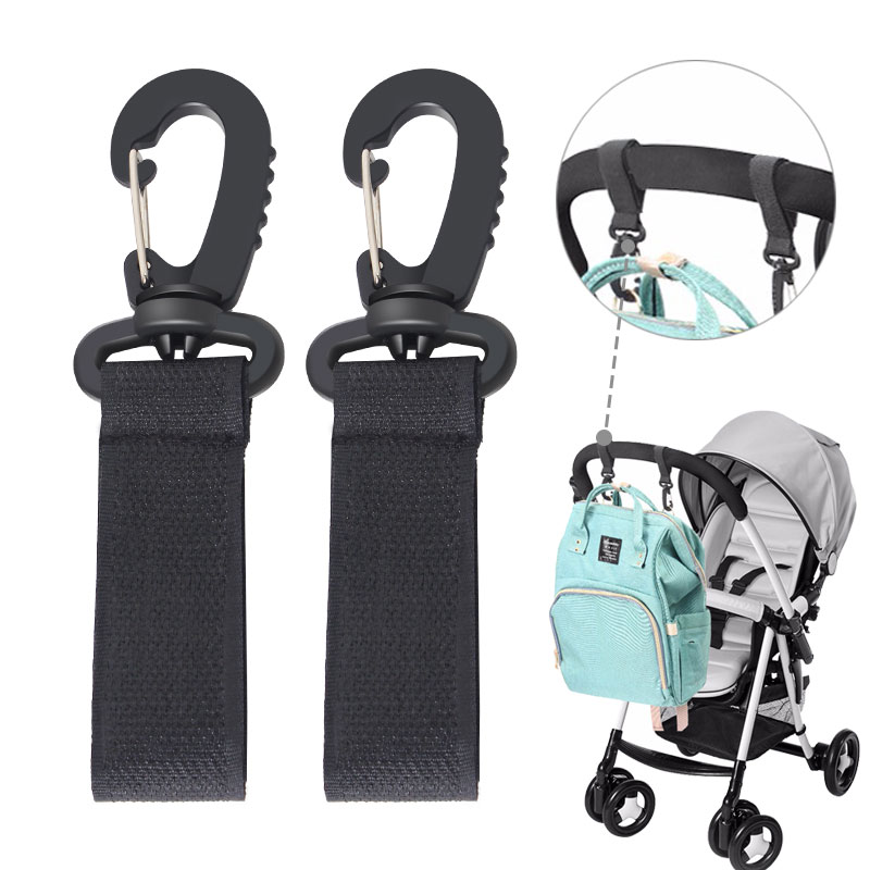 360 Degrees Kids Stroller Hook Hanger Straps Nylon Metal Pushchair Accessories