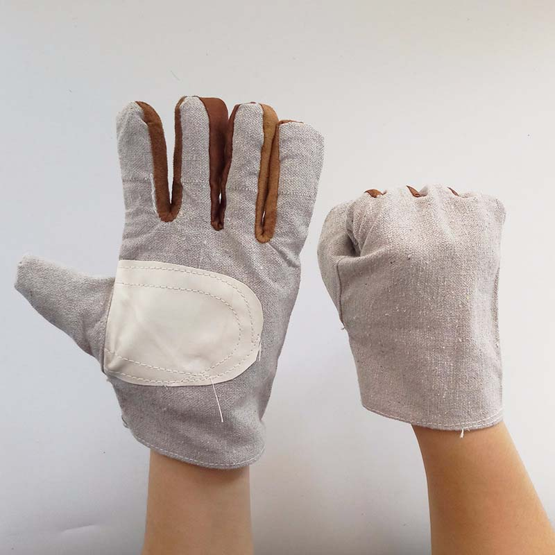 Double-line Single-layer Canvas Protective Cloth Gloves Wear-resistant Electric Welding Work Gloves