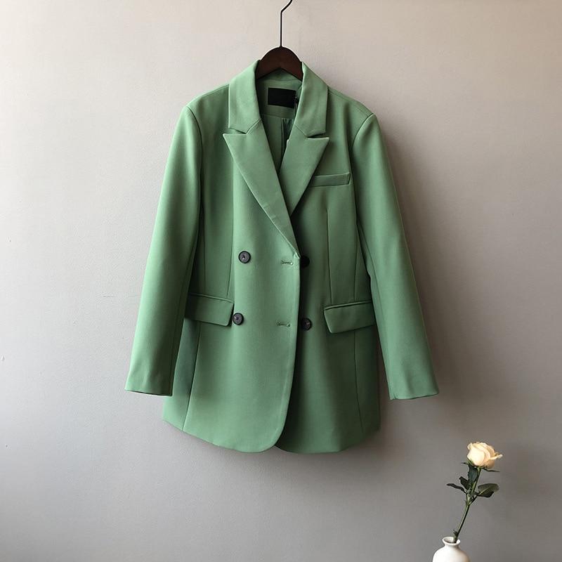 2020 Women Spring Blazer Coat Turn Down Collar Long Sleeve Vintage Coat Casaco Feminino Tops For Women Elegant Coat Outerwear