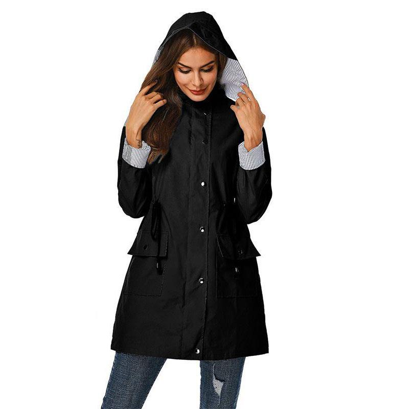 Fashion 2019 Autumn Women Outdoor Coat Ladies Long Sleeve Solid Windbreaker Coat Casual Drawstring Hooded   Trench   Coats