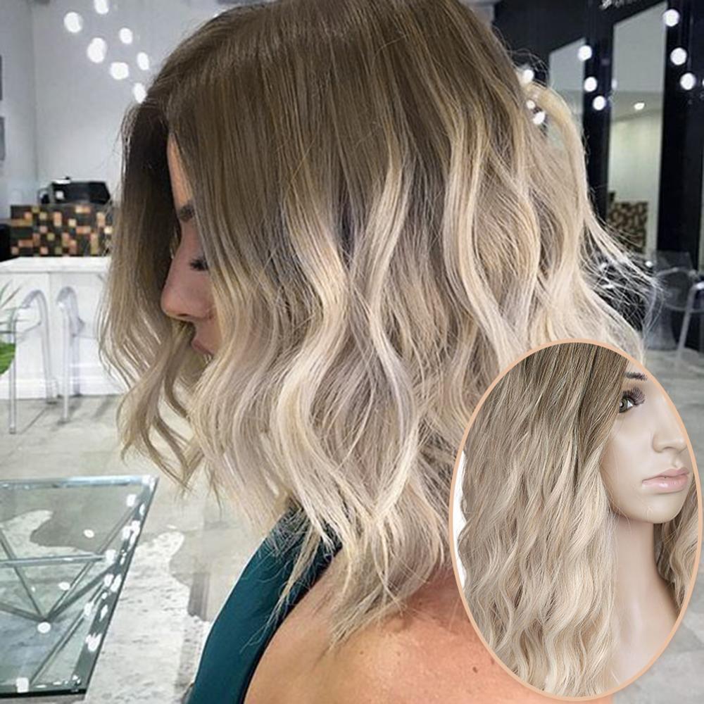 "Wignee ombre preto para loira peruca lado parte 14 ""perucas sintéticas para as mulheres ondulado cosplay diário resistente ao calor natural cabelo curto"