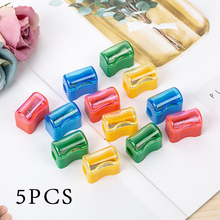 5pcs Single Hole Pencil Sharpener With Cover For Primary School Students YL 9029 (Random colors)