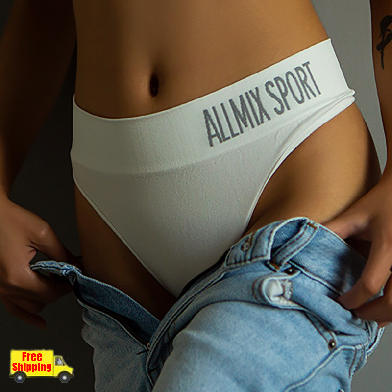 2020 Arrival Sexy Mid Waist Sport Panties Seamless Thong G String Women Cotton Underpants Letter Tanga Lady Briefs Underwear