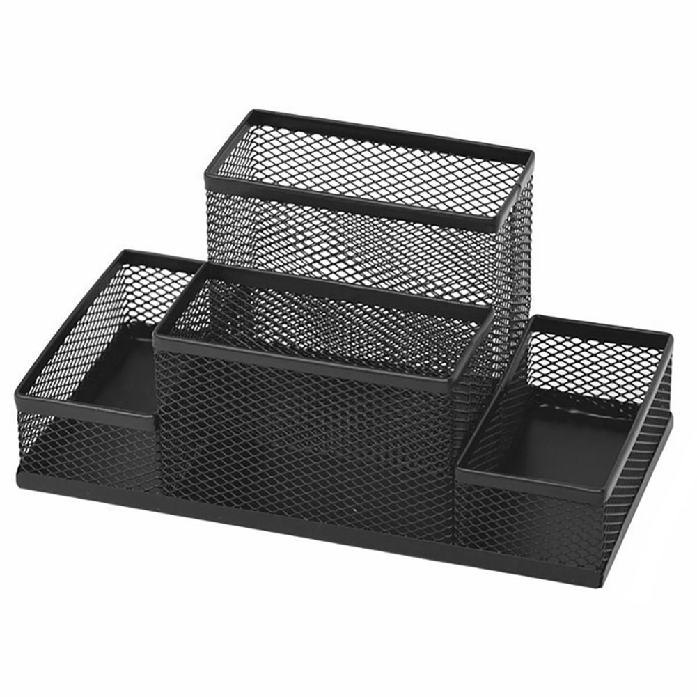 Mesh Cube Stationery Office Gifts Desk Organizer Supplies Combination Storage Box Pen Holder Metal Stand Multifunctional Pencil   - title=