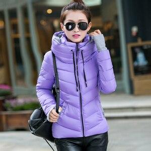Image 4 - 2019 inverno jaqueta feminina plus size das mulheres parkas engrossar outerwear sólido casacos com capuz curto feminino fino algodão acolchoado básico topos