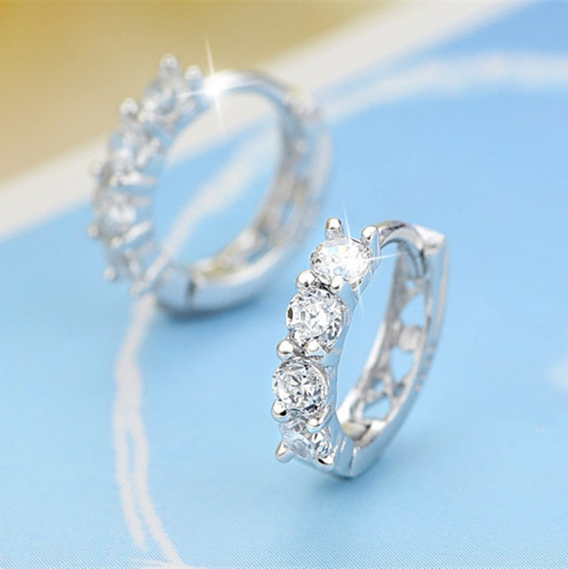 Wholesale 925 Sterling Silver Earrings Inlaid With Zircon Crystal Earrings For Women Wedding Jewelry Gifts