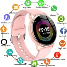Mulher relógio inteligente tempo real previsão do tempo atividade rastreador monitor de freqüência cardíaca esportes senhoras relógio inteligente masculino para android ios