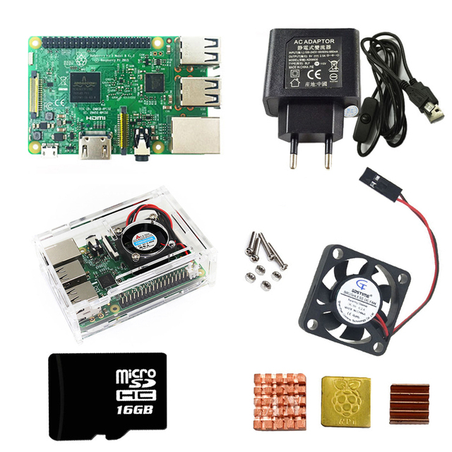 Vier Raspberry Pi3 Foundation Kits + Acryl Fall/ABS fall + EU/UNS Netzteil mit USB Kabel mit schalter und 16SD karte kühlkörper