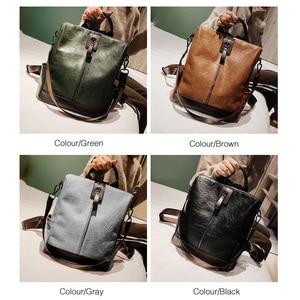 Image 2 - Moda kadınlar yüksek kaliteli deri sırt çantası çok fonksiyonlu deri sırt çantaları büyük sırt çantası seyahat çantaları okul çantaları genç kız için