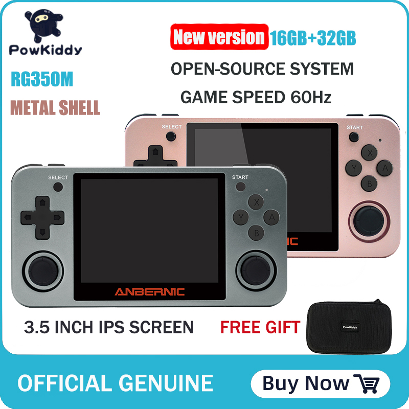 Powkiddy RG350 Handheld Game Console RG350M Metal Shell Console Open Source System 3.5 Inch IPS Screen Retro Ps1 Arcade 3D Games