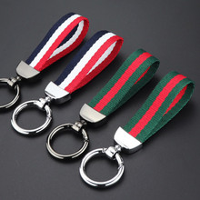 Fashion Wrist Strap Hand Nylon Knitting Metal Keychain Neck Strap Keyring Auto Vehicle Key Chain Ring