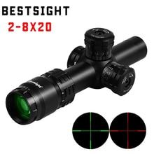 Новинка 2-8x20 охотничий прицел AK47 AK74 AR15 тактический прицел мил точечная подсветка Сетка прицел