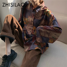 Vintage Loose Print Blouse Women Retro Plus Size Blouse Harajuku Women Shirts Re