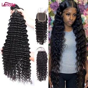 30 дюймов глубокая волна пряди с закрытием вьющиеся пряди с фронтальной 3 4 пряди волос Плетение перуанские Lemoda Remy пряди человеческих волос д...