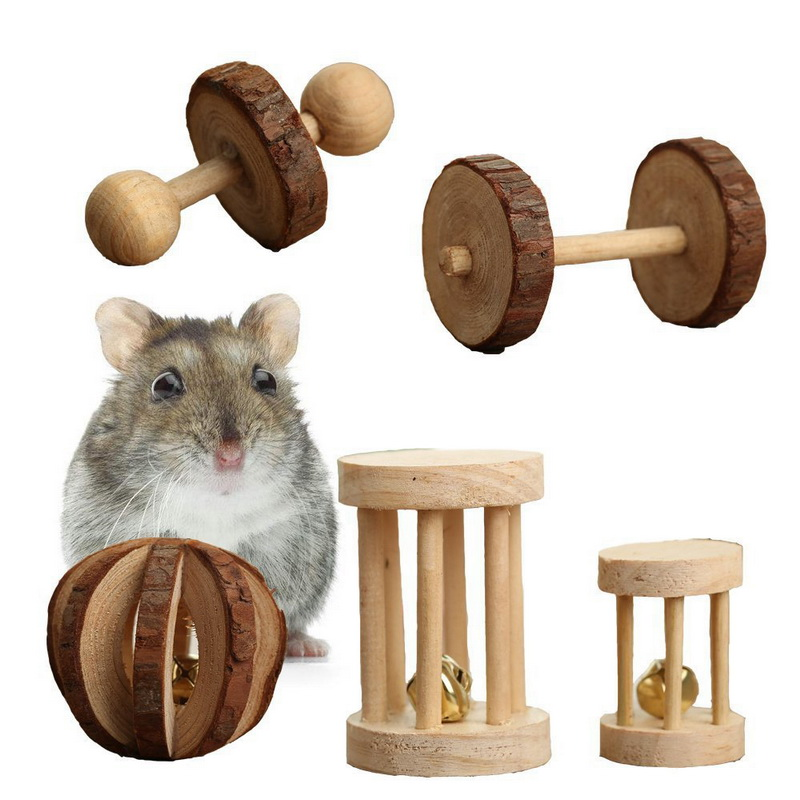 New Hamster Wooden Toy Supplies With Bell For Small Animals Exercise Toy Wood Molar Chew Toy Jouet Rongeur Konijn Speelgoed Hout