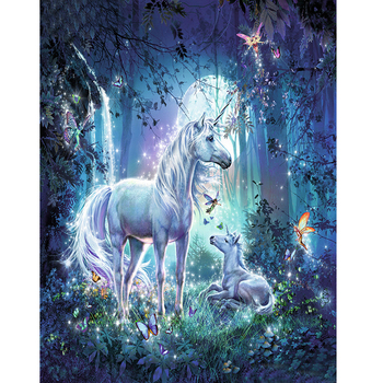 Paint By Numbers Adult Kit Fantasy Unicorn With Foal In Enchanted Forest