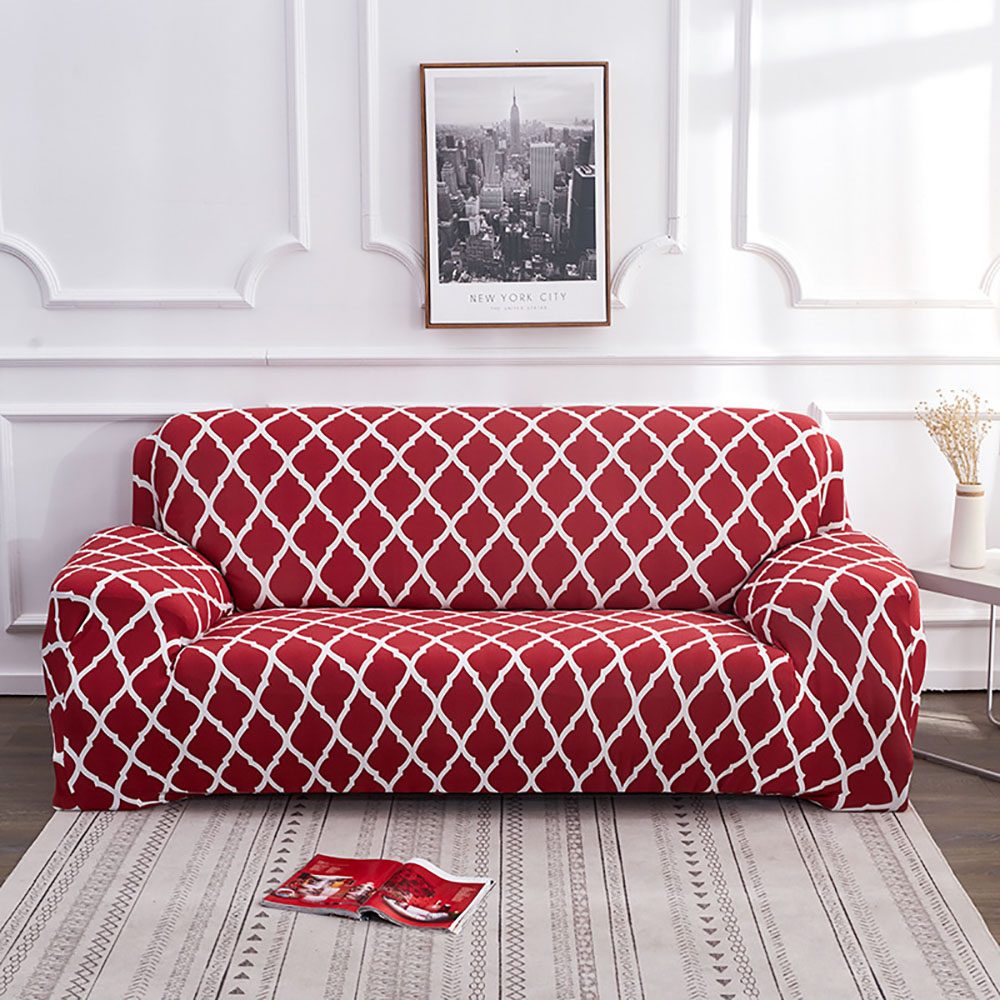Corner Sofa Covers Elastic Grid Pattern For Living Room Sofa Cover Comfortable Full Coverage 1/2/3/4 Seater Modular Couch Cover