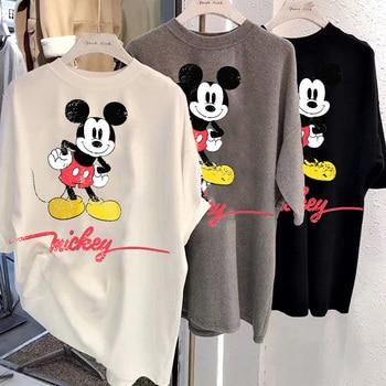 Disney fashion women's cute Mickey Mouse cartoon print O-neck sweater short sleeve white chic T-shirt casual fashion women loose 1