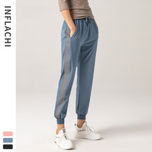 Night Side Reflective Track Pants Loose Fit Drawstring Women Jogger Sweatpants High Waist Sports Pants Stretch Pockets Pants green side pockets camouflage drawstring waist active bottoms