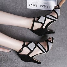 Strappy Office Sandals Women Sexy High Heeled Buckle Shoes Heelback Fish Nosed Roman Plus 43