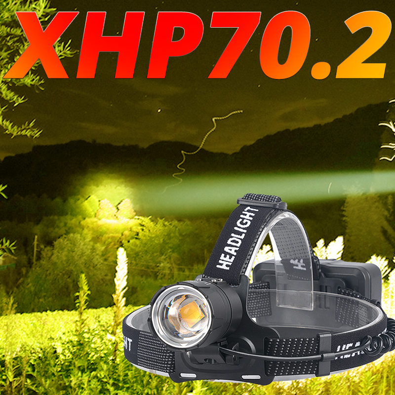 XHP70.2 Powerful Led Headlamp XHP70 Yellow White Led Headlight Fishing Camping Zoom USB Rechargeable Torch Use 3*18650 Batteries