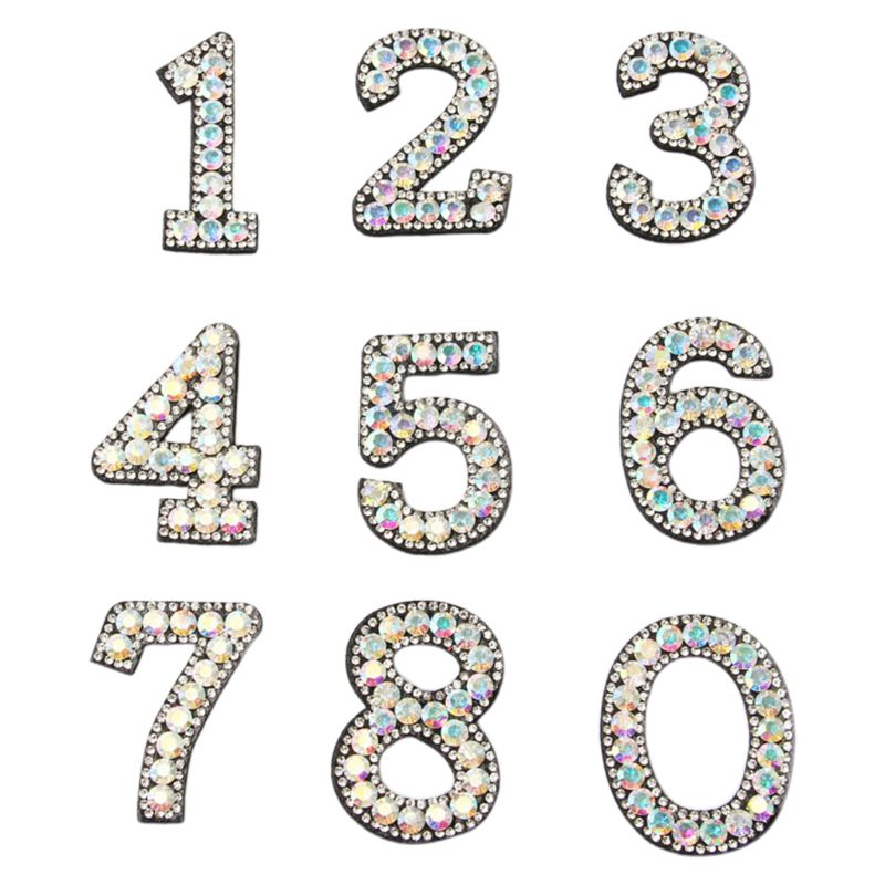 2020 New 10Pcs DIY 0-9 Number Applique Glitter Rhinestone Embroidered Patches Sew Iron On