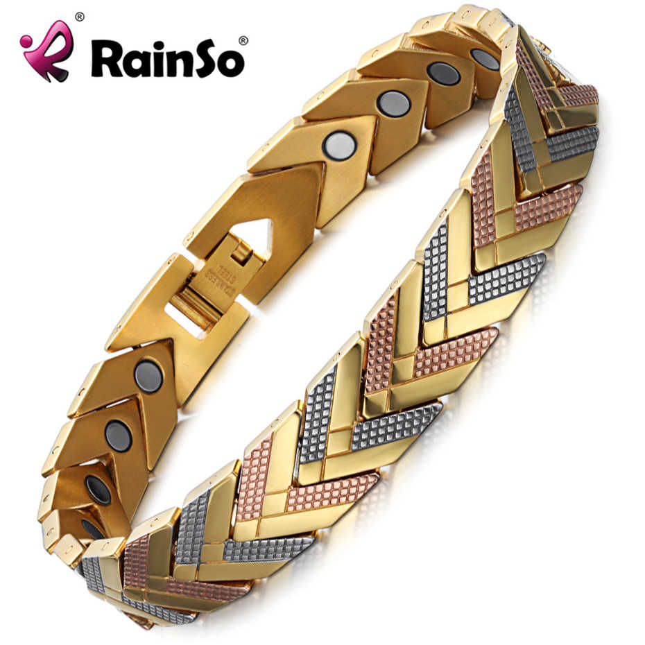 Rainso 健康磁気ブレスレットバングル女性のためのホット販売ステンレス鋼バイオエネルギーブレスレットゴールドファッションジュエリー