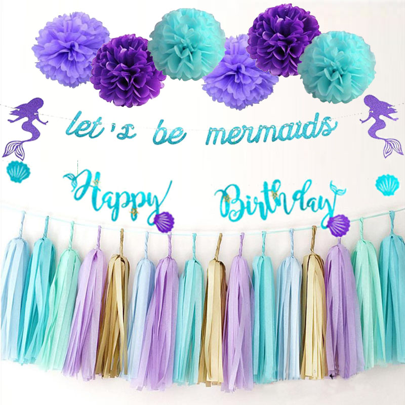 Mermaid Party Birthday Party Decoration Banner Balloons Girl  Happy Birthday Garland Mermaid Tail Shell Banner Baby Shower Decor