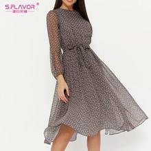 S.FLAVOR Elegant Dot Print Long Sleeve Spring Women Dresses Winter Casual O Neck Chiffon A LIne Dress Vintage Party Vestidos