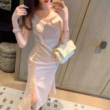 : Для летние женские пятно платье элегантные шелковые платья сексуальный разрез до середины икры длинные strapdress без рукавов тонкий женский ...