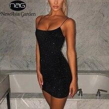 Newasia vestido preto de duas camadas, feminino, para festa noturna, estiramento, slim fit, bodcon 2020