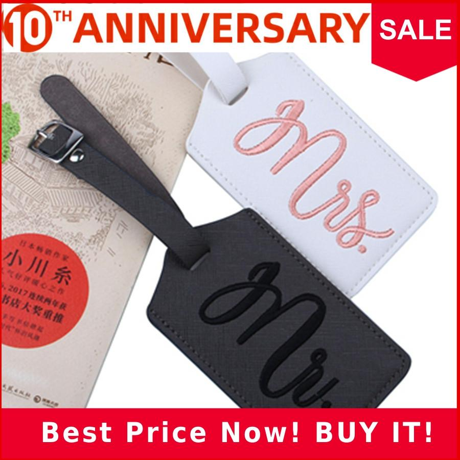 2 Pcs/lot Couple Lover Mr&Mrs Embroidery Luggage Tag Suitcase Bag Travel Accessories Name ID Address Wedding VIP Label LT36