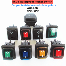 KCD4 ON/OFF 16A/250V 4Pin/6Pin DPST IP67 Sealed Waterproof T85 Auto Boat Marine Toggle Rocker Switch with LED 12V 220V 30x22