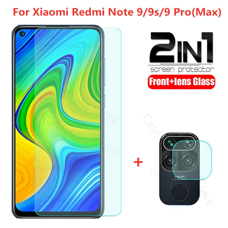 2 in 1 tempered glass for redmi note 9 9s note 9pro max screen protector camera lens protective glass on redmi 9 9a note 9 glass(China)