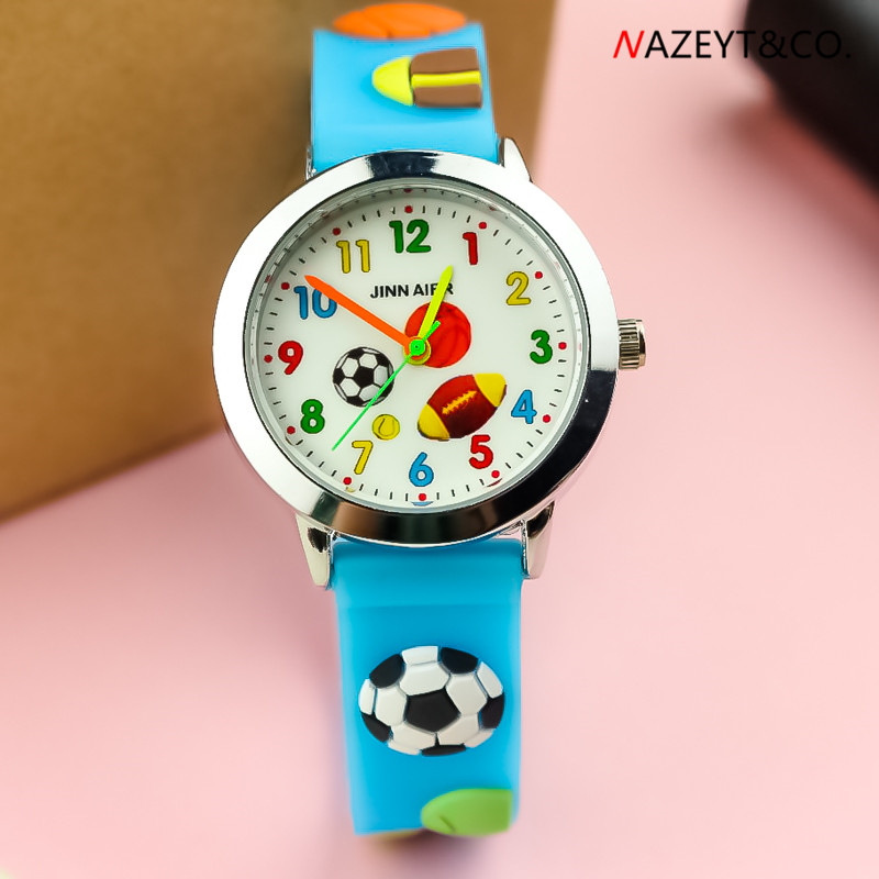 3D Children Quartz Watch High Quarlity Little Boys Girls Outdoor Sports Football Dial Silicone Wristwatch Cartoon Gift Clock