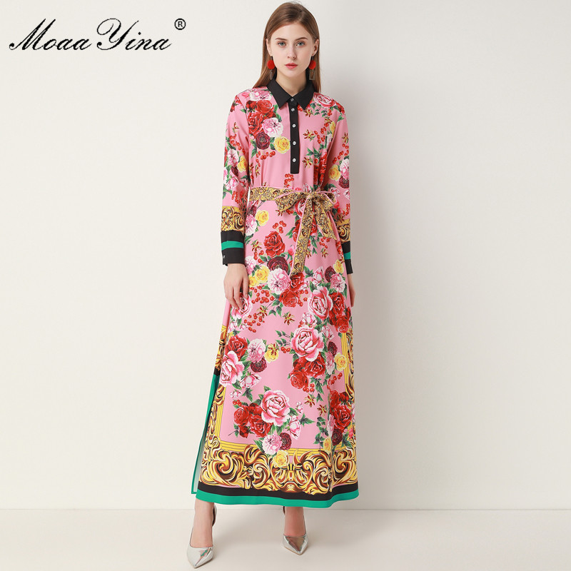 Moaayina Fashion Designer Dress Spring Autumn Women S Dress Long Sleeve Floral Print Robe Maxi Dresses Dresses Aliexpress