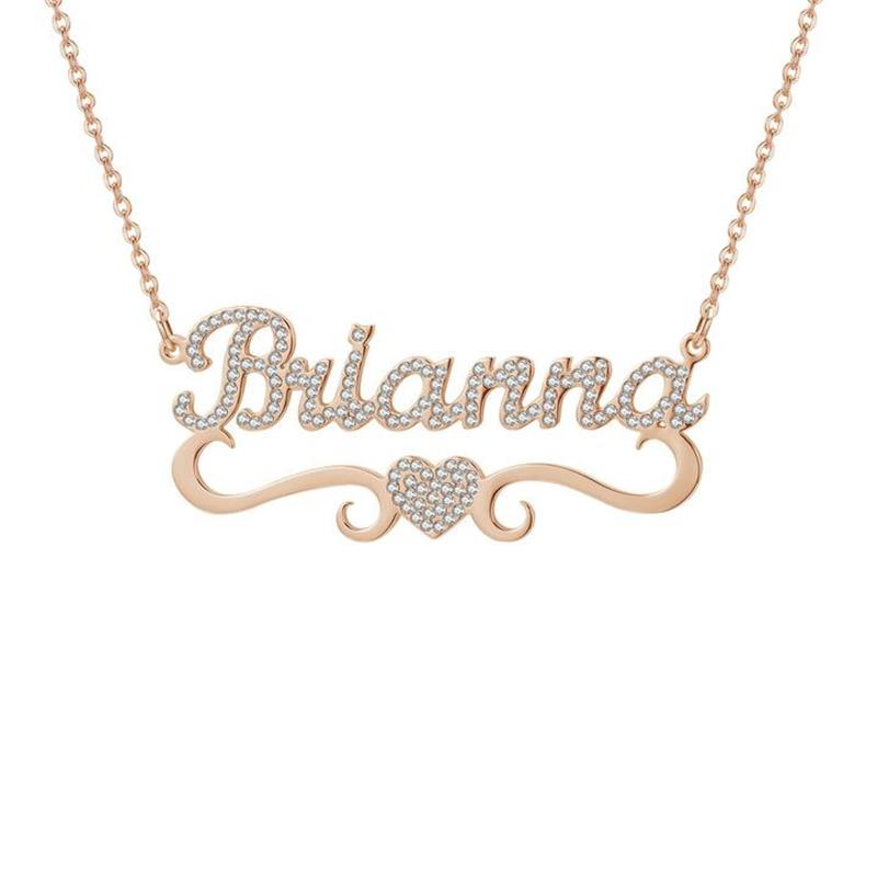 Customize Crystal Name Necklace Simple Love Heart best Gift Fashion Jewelry ultra-chic Free Engraving for women(China)
