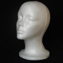 Hot Foam Mannequin Female Head Model for Wig Glasses Hat Display Stand styrofoam foam wig hair hat display white 1Pc