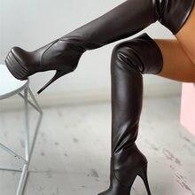Botas por encima de la rodilla para mujer, zapatos sexys de talla grande 31-46 con plataforma de piel, extremo alto fetiche, tacones finos para fiesta