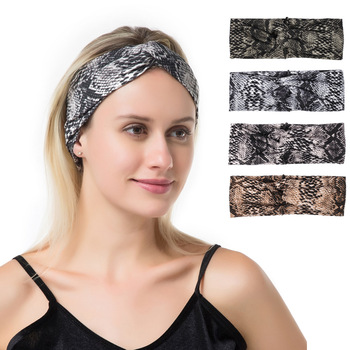 Fashion Women Girls Summer Vintage Hair Bands Snake Animal Print Headbands Hair Accessories Cross Turban Bandanas HairBands new girls vintage cross knot elastic hairbands soft solid print headbands bandanas girls hair bands hair accessories for women
