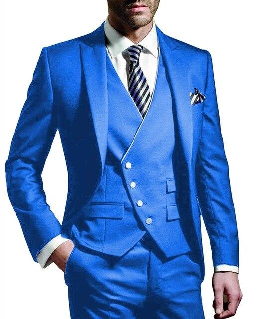 Three Pieces Men Suits Notched Lable Blue Groomsuit Blazer One Button Formal Business Suits Tuxedo (Blazer+vest+Pant)