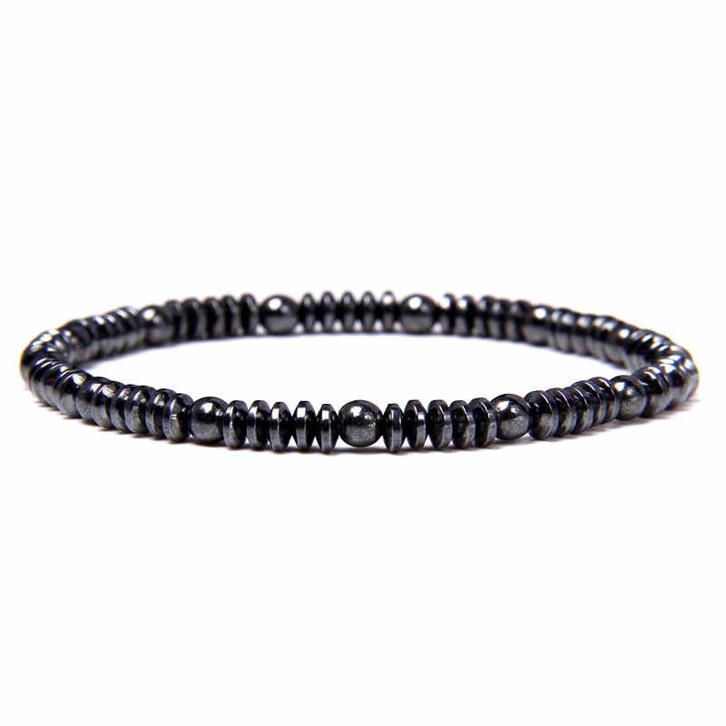 Minimalist Simple Hematite Chakra Attraction Bead Bracelet for Men /& Women 4mm