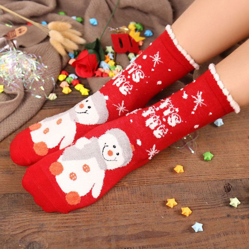 Women High Ankle Cotton Crew Socks Christmas Snowman Casual Sport Stocking